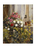 Azaleas, Geraniums, Roses and Other Potted Plants by a Window, 1888 Giclee Print by Carl Christian Carlsen