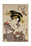 Portrait of a Courtesan Reading a Love Letter Giclee Print by Utagawa Kunisada