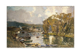 The Small Branch of the River Seine at Bas-Meudon on an Autumn Evening, 1893 Giclee Print by Albert-Charles Lebourg