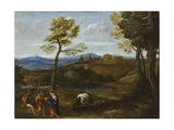 Landscape with the Flight into Egypt, C.1605 Giclée-tryk af Domenichino
