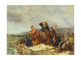 Fishermen on a Quay During a Storm Giclee Print by Henry Parker