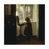 A Girl Standing by a Sewing Table Gicléetryck av Carl Holsoe