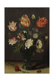Tulips with Other Flowers in a Glass on a Table Giclee Print by Jan the Younger Brueghel