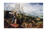 Landscape with the Offering of Isaac, C.1540 Giclee Print by Herri Met De Bles