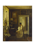 An Interior with a Woman Sewing Giclee Print by Carl Holsoe
