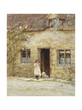 At the Cottage Door Giclee Print by Helen Allingham