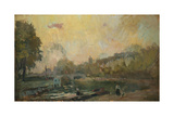 The Banks of the River Seine at St. Cloud Giclee Print by Albert-Charles Lebourg