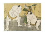 Onagawa Kisaburo and Tanikaze Kajinosuke Performing the Shiriki in the Dohyo, Refereed by Kimura… Giclee Print by Katsukawa Shunsho