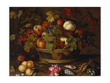 Grapes, Apples, a Peach and Plums in a Basket with Lily of the Valley Giclee Print by Balthasar van der Ast