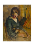 Seated Woman with a Cat on Her Knees Giclee Print by Roderic O'Conor