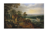 Village Street with Figures and Carts, a Moated Castle in the Background Giclee Print by Jan Brueghel the Younger