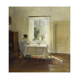 A Woman Seated at a Table by a Window Gicleetryck av Carl Holsoe