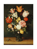Tulips, Roses and Other Flowers in a Glass Vase Giclee Print by Balthasar van der Ast