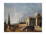 Elegant Figures in Front of a Domed Classical Church, an Obelisk to the Left Giclee Print by Michele Marieschi