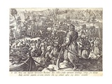 The Death of Giovanni De' Medici in Battle, Plate 8 from 'The History of the Medici', Engraved by… Giclee Print by Jan van der Straet