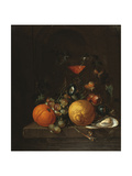 A Lemon, an Orange, Grapes, an Oyster, and a Glass of Wine on a Ledge Giclee Print by Cornelis De Heem