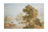 Cattle Watering at a River Giclee Print by John Glover