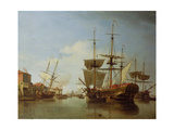 Shipping on the Thames at Rotherhithe, C.1753 Giclee Print by Samuel Scott