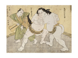 The Wrestling Match Between Kimenzan Tanigoro and Edogasaki Gemji Giclee Print by Katsukawa Shunsho