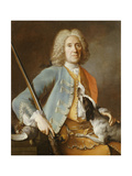 Portrait of a Sportsman Holding a Gun with a Hound Giclee Print by Jean-Baptiste Oudry