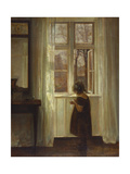 A Girl Standing at a Window Gicléetryck av Carl Holsoe