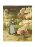 Flower Seller in Front of the Madeleine Church Giclee Print by Victor Gabriel Gilbert
