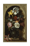 Irises, Roses, Lily of the Valley and Other Flowers in a Glass Vase in a Niche, 1621 Giclee Print by Balthasar van der Ast