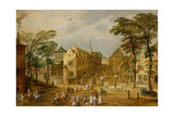A View of a Flemish Street with Townsfolk and Waggoners Giclee Print by  Joos de Momper and Jan Brueghel