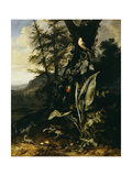 A Forest Floor with a Toad and a Lizard, a Bullfinch on a Branch of Ivy Above, and a Mountain… Giclee Print by Matthias Withoos