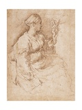 Woman Seated Holding a Statuette of Victory, C.1524 Giclee Print by  Parmigianino