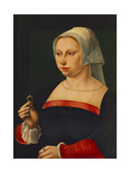 Portrait of a Lady Holding a Ring Giclee Print by Jan van Scorel