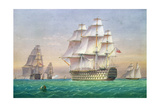 Three First Rate Ships of the Line Entering Portsmouth Harbour Giclee Print by John And William Joy