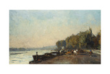 On the Bridge at Suresnes in Autumn Giclee Print by Albert-Charles Lebourg