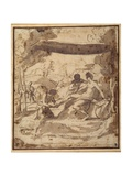 Venus, Reclining under a Rustic Canopy, with Adonis Fastening Her Sandal Giclee Print by Francesco Albani