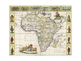 Map of Africa, from Nova Africa Descriptio, Published in Amsterdam in the 1660s by Dutch… Giclée-tryk