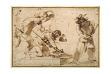 Satirical Subject with Characters from the Commedia Dell'Arte Giclee Print by  Guercino (Giovanni Francesco Barbieri)