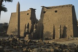 Facade of the Temple of Luxor with the Obelisk and a Statue of Ramesses II Photographic Print