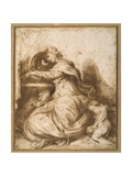 Madonna and Child with St John, All Asleep Giclee Print by Agostino Carracci