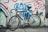 Bicycle at Graffiti on Wall , Amsterdam, Netherlands Photographic Print