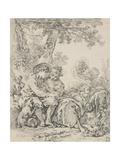 Rustic Courtship Gicléedruk van Francois Boucher