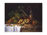 Still Life with a Bottle of Wine, Rhubarb and an Upturned Basket of Apples on a Table Giclee Print by Antoine Vollon