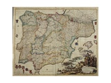 Wall Map of Spain and Portugal, Showing Charles VI Leading His Troops in the War of the Spanish… Giclee Print