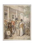 Bourgeois Street Scene from Biedermeier-Era Germany, Hamburg, 1815 Giclee Print by Georg Emanuel Optiz