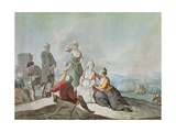 Voltaire Conversing with the Peasants in Ferney Giclee Print by Jean Huber