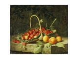 A Basket of Strawberries with Peaches on a Stone Ledge, 1856 Giclee Print by William Hammer