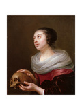 A Young Woman Holding a Skull, 1640s Giclee Print by Jan Olis