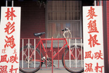 Bicycle at Metal Bars with Chinese Board , Singapore Photographic Print