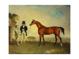 Skiff, a Bay Racehorse Held by a Groom on Newmarket Heath, with John Howe Giclee Print by Benjamin Marshall