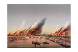 The Gunboat 'La Farcy' Moored in the Seine During the Burning of the Tuileries and the Conseil… Giclee Print by Charles Leduc
