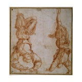 Two Studies of a Man Suspended by His Left Leg Giclee Print by  Andrea del Sarto